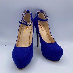 FSJ Royal Blue Heels Suede Ankle Strap Stiletto